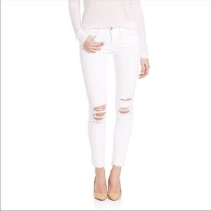L'AGENCE White Ripped Skinny Jeans